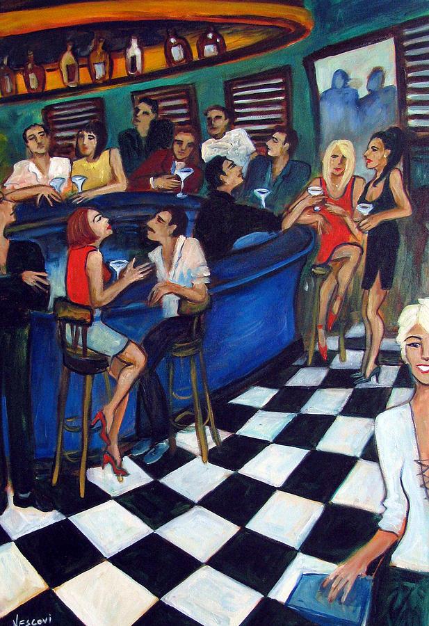 Bar Scene Painting - 32 East by Valerie Vescovi