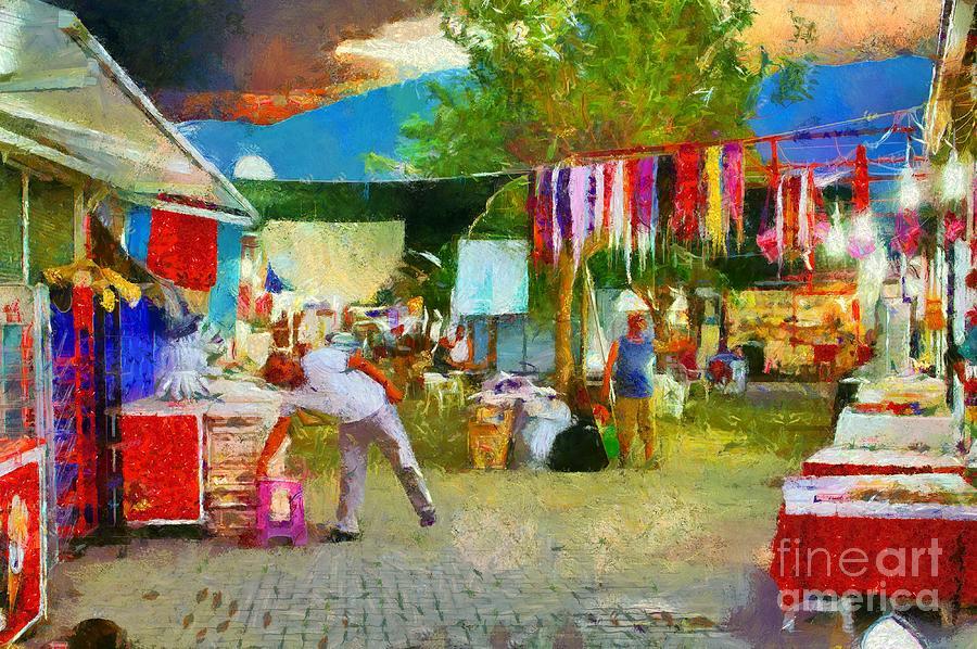 A Digital Painting Of A Turkish Street Market Scene