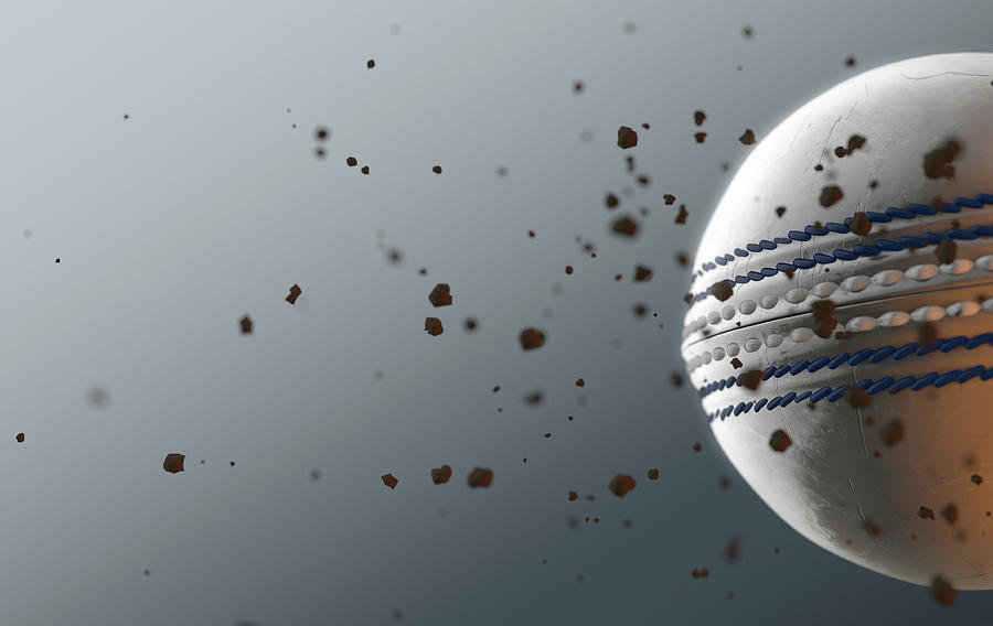 Cricket Digital Art - A Dirty White Leather Cricket Ball Caught In Slow Motion Flying Through The Air Scattering Dirt Part by Allan Swart