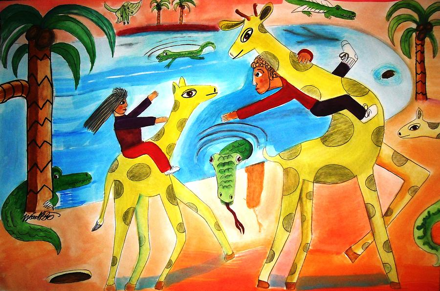 Desert Island Painting - A Fine Day For Riding Giraffes by Ward Smith