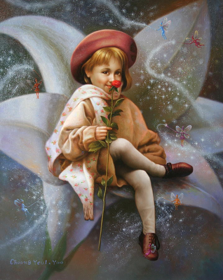 Original Painting - A Girl And A Fairy Of 7 by Yoo Choong Yeul