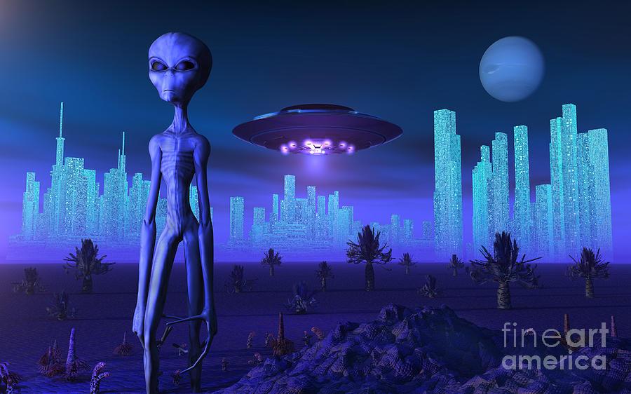A Grey Alien Located On Its Homeworld Digital Art