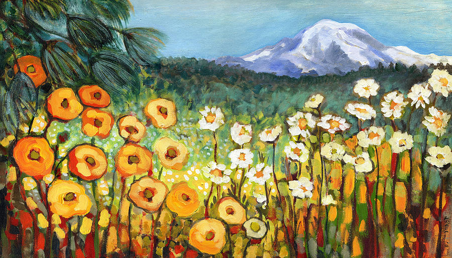 Rainier Painting - A Mountain View by Jennifer Lommers