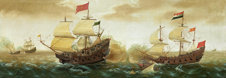 Ships Painting - A Naval Encounter Between Dutch And Spanish Warships by Cornelis Verbeeck