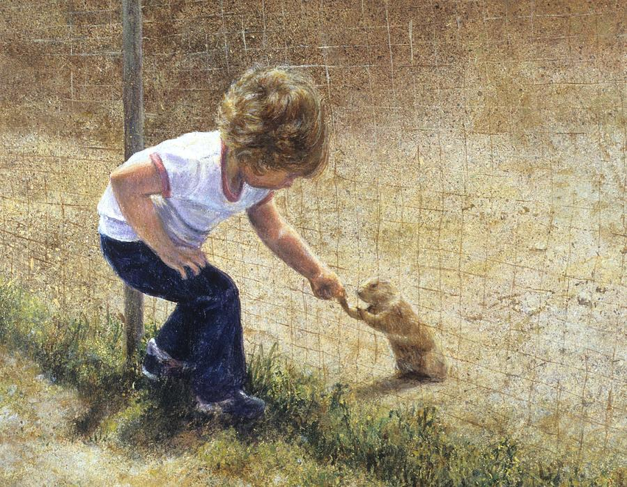 Children Painting - A New Friend by Janet Landrum