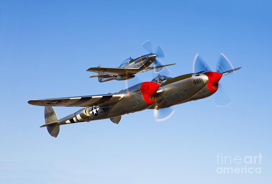 Blue Sky Photograph - A P-38 Lightning And P-51d Mustang by Scott Germain