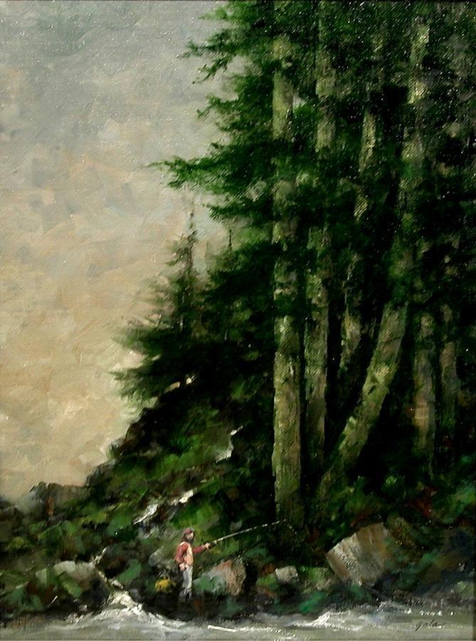 Tonalist Painting - A Quiet Place by Jim Gola