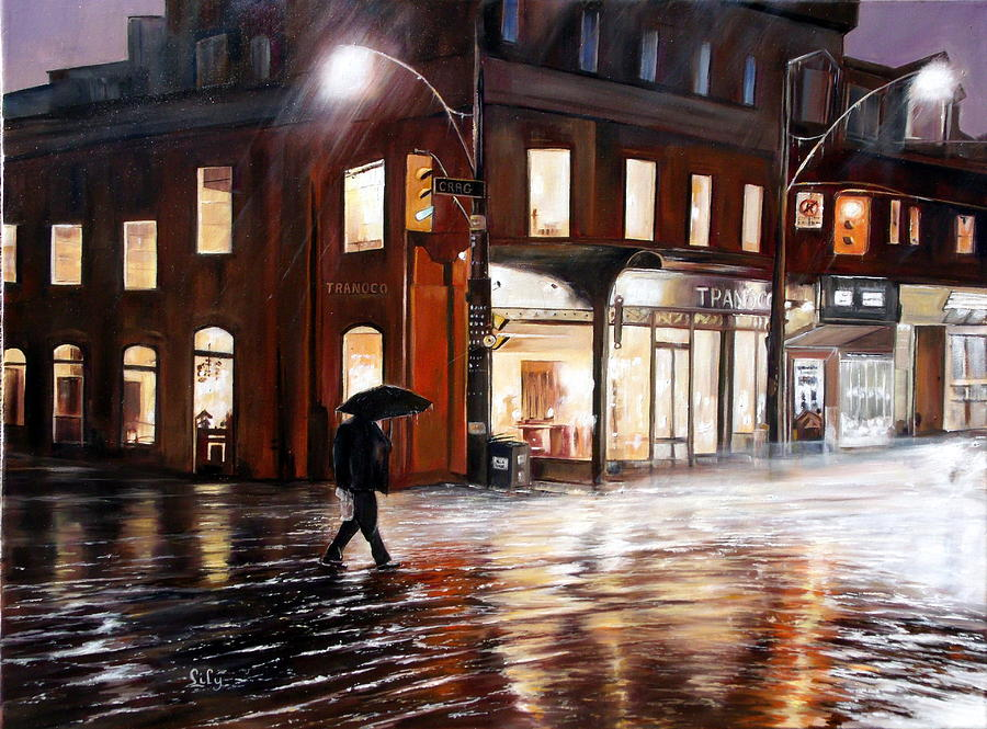 Rain Painting - A Rainy Night by Lily Adamczyk