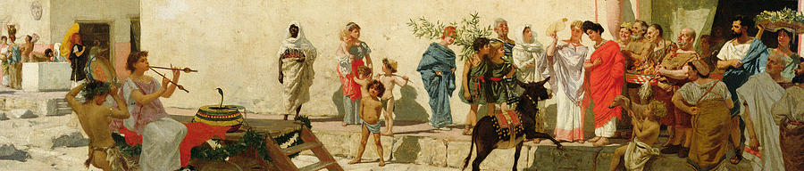 Modesto Painting - A Roman Street Scene With Musicians And A Performing Monkey by Modesto Faustini