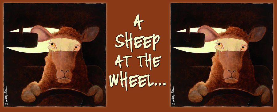 Will Bullas Painting - A Sheep At The Wheel... by Will Bullas