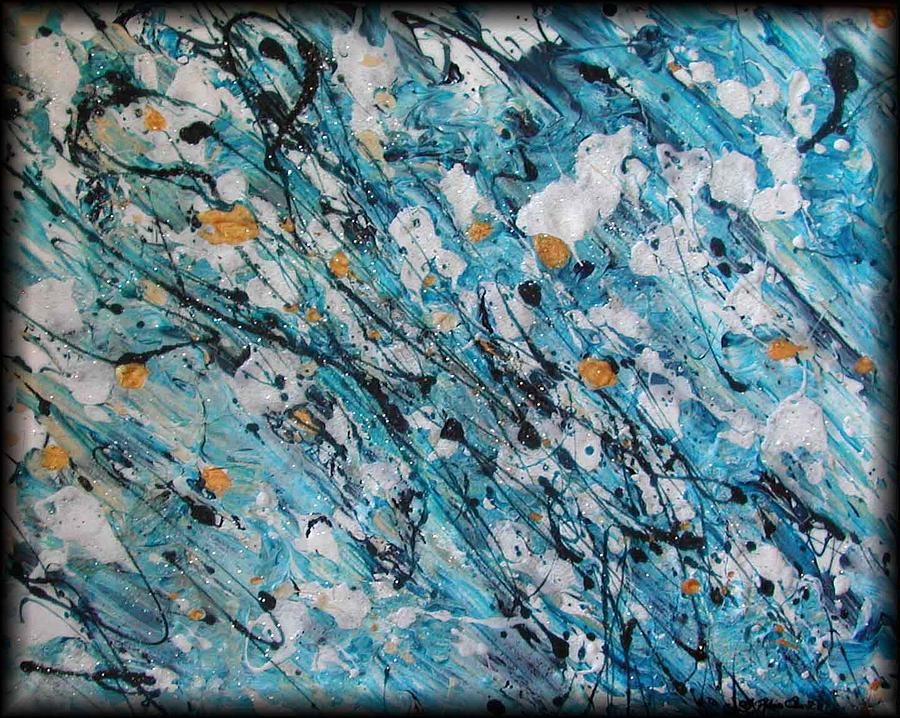 Abstract Painting - A Teal Dream by Rebecca Tacosa Gray