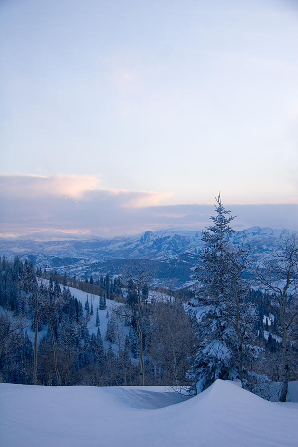 Snow Photograph - A View Out Over The Mountains Of Utah by Taylor S. Kennedy