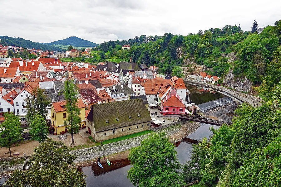 Vltava River Photograph - A View Overlooking The Vltava River And Cesky Krumlov In The Czech Republic by Richard Rosenshein