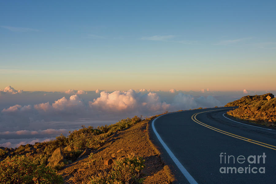 Adventure Photograph - A winding road to the Top of Maui Haleakala Volcano by Denis Dore