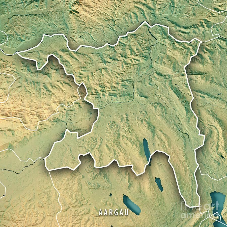 Aargau Canton Switzerland 3d Render Topographic Map Border