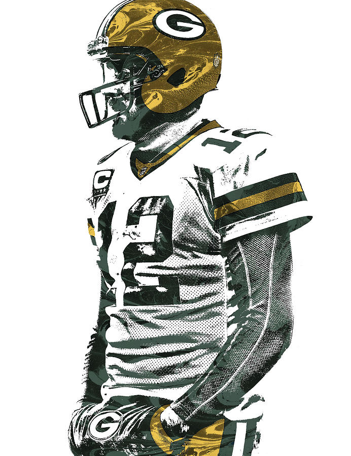 Aaron Rodgers Mixed Media - Aaron Rodgers Green Bay Packers Pixel Art 5 by Joe Hamilton