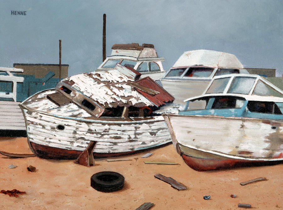 Boats Painting - Abandoned Dreams by Robert Henne