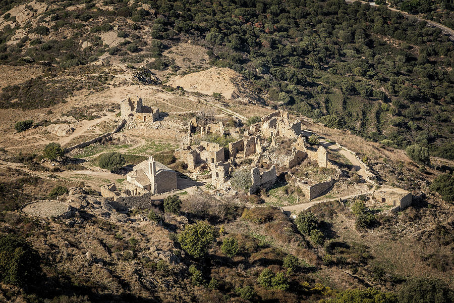 Ancient Photograph - Abandoned Village Of Occi And The Coast Of Corsica by Jon Ingall