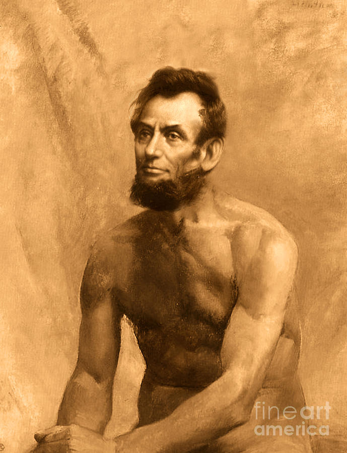 Nude Male Painting - Abraham Lincoln Nude by Karine Percheron-Daniels