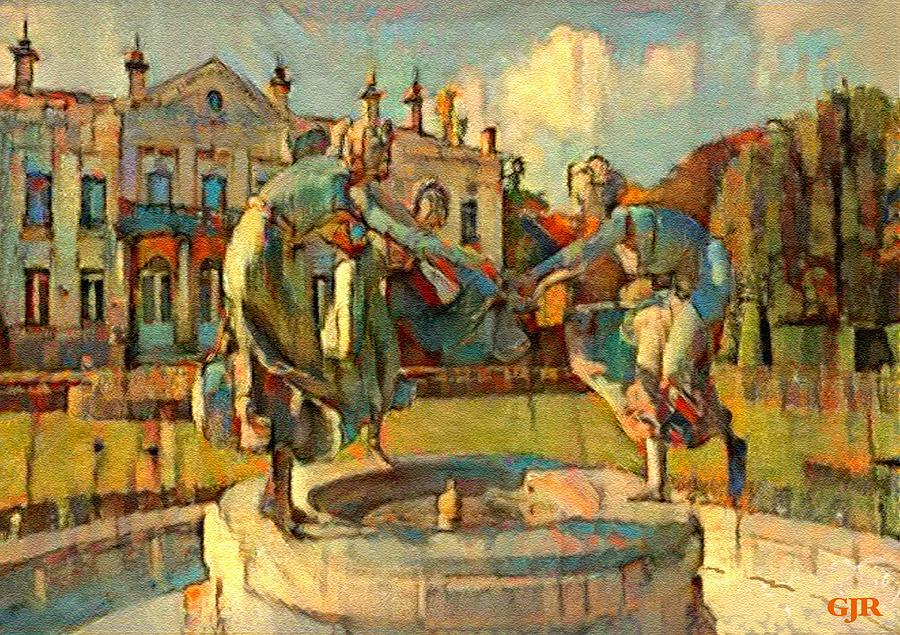 Abstract dancing statue figures on a fountain pedestal l a s digital abstract digital art abstract dancing statue figures on a fountain pedestal l a s by gert j malvernweather Image collections
