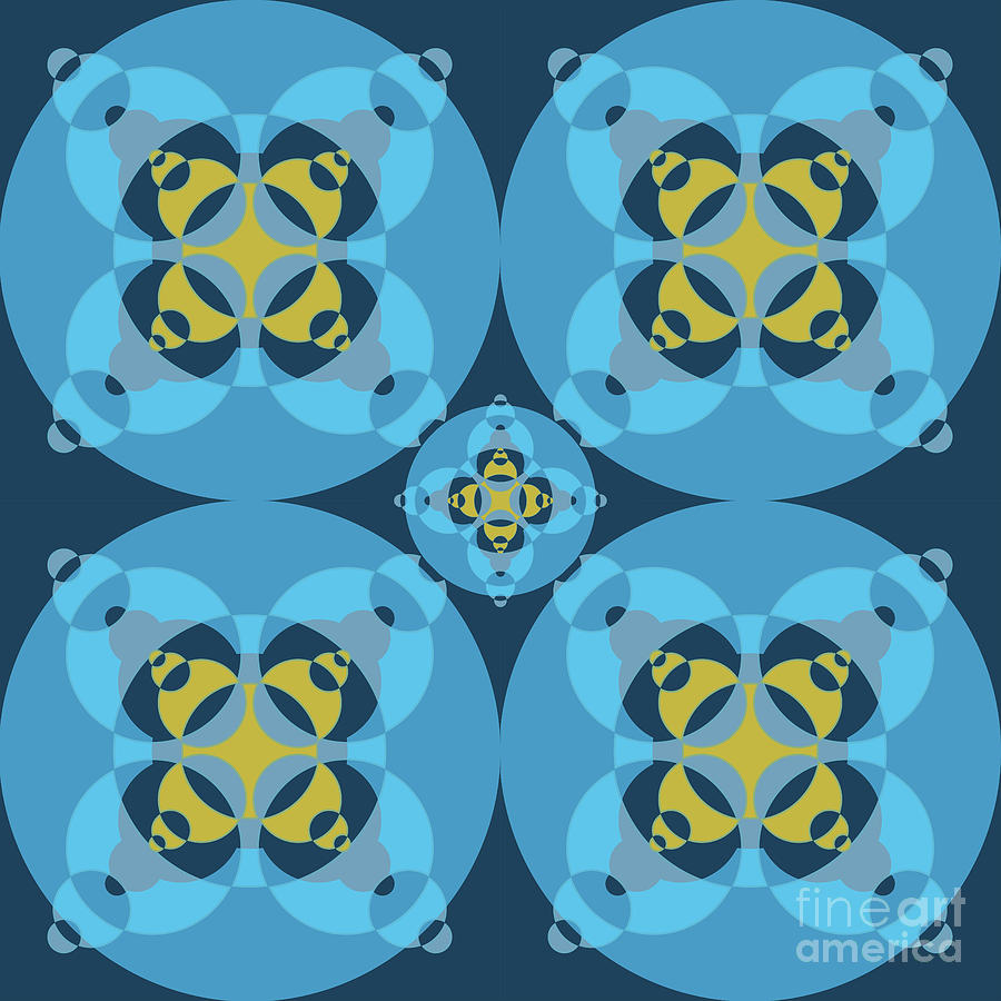 Painting Digital Art - Abstract Mandala Cyan, Dark Blue And Yellow Pattern For Home Decoration by Drawspots Illustrations