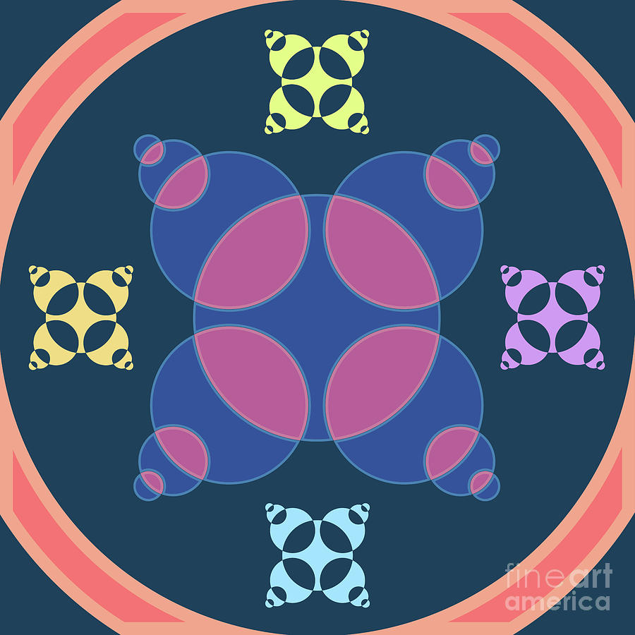 Painting Digital Art - Abstract Mandala Pink, Dark Blue And Cyan Pattern For Home Decoration by Drawspots Illustrations