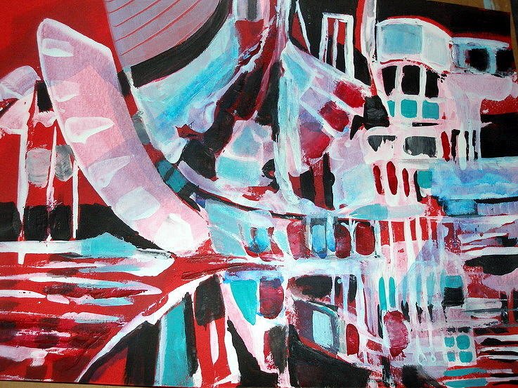 White Painting - Abstract Marina by Therese AbouNader