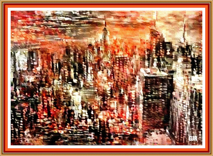 Abstract New York Sunset  L A S With Decorative Ornate Printed Frame. Digital Art