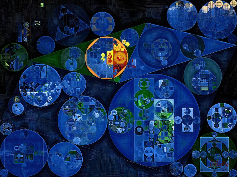 Rectangle Digital Art - Abstract Painting - Dark Midnight Blue by Vitaliy Gladkiy