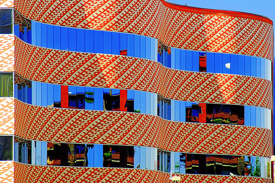 Facade Photograph - Abstract Reflections In Glass Tucson Arizona by Christine Till