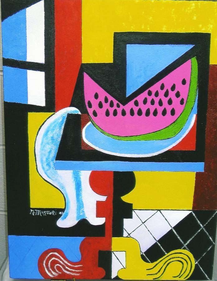 Abstract Painting - Abstract Watermelon by Nicholas Martori