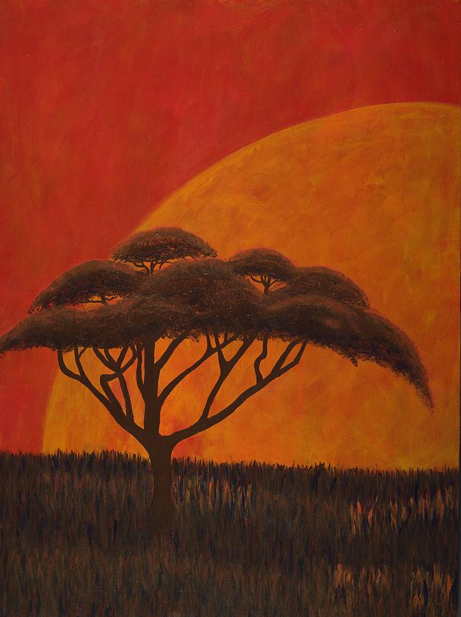 Landscape Painting - Acacia At Sunset by Diane Korf