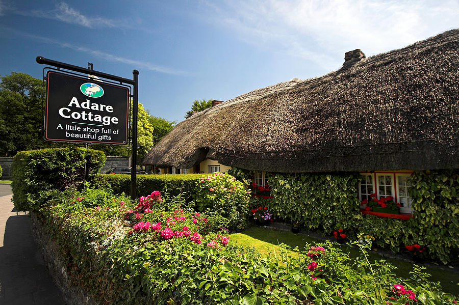 Adare Photograph - Adare Thatch Roof Cottages Ireland by Pierre Leclerc Photography