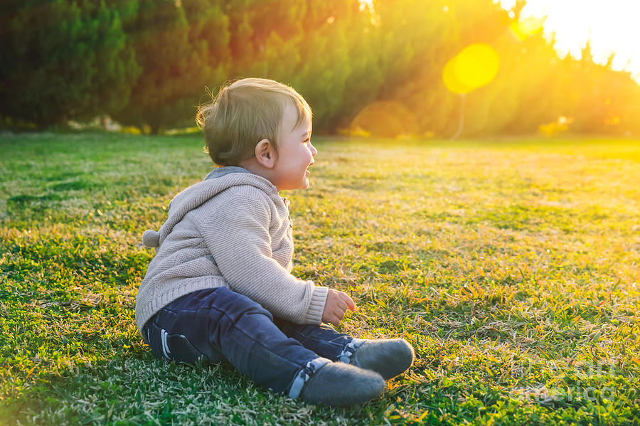 Adorable Photograph - Adorable Baby Playing Outdoors by Anna Om