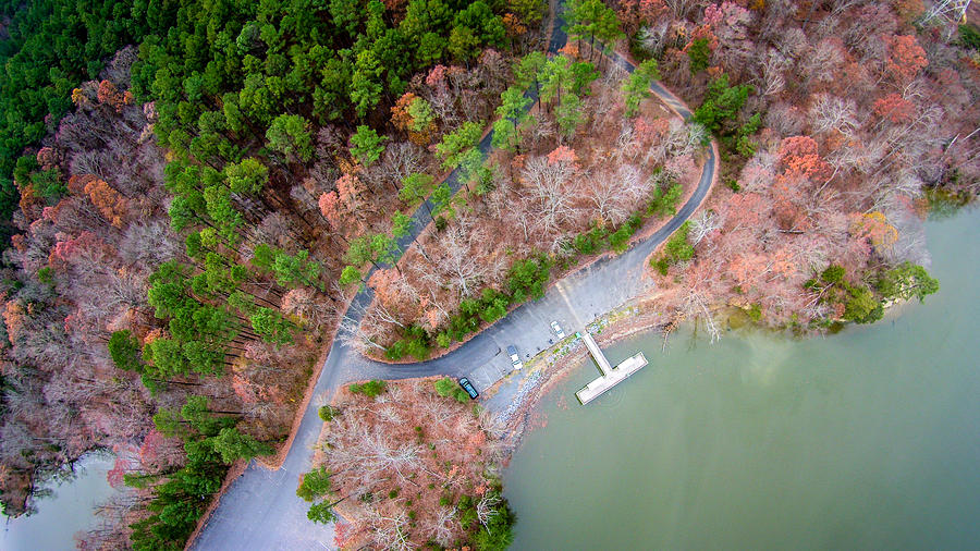 Aerial View Over Lake Wylie And Boat Marina Photograph