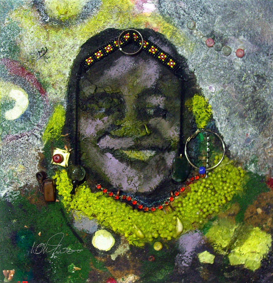 Contemporary Painting - African Bead Painting by Mohamed-saeed Omer