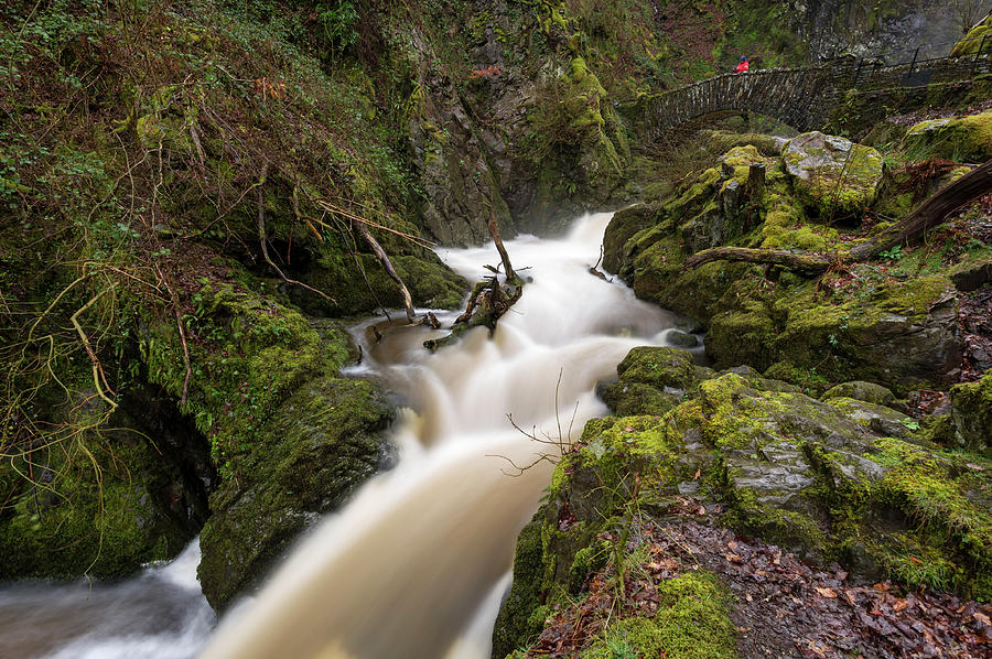 Aira Force Photograph - Aira Force Lower Stone Bridge by Stephen Dewhurst
