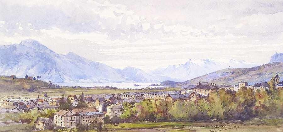 Aix les Bains Painting by MotionAge Designs