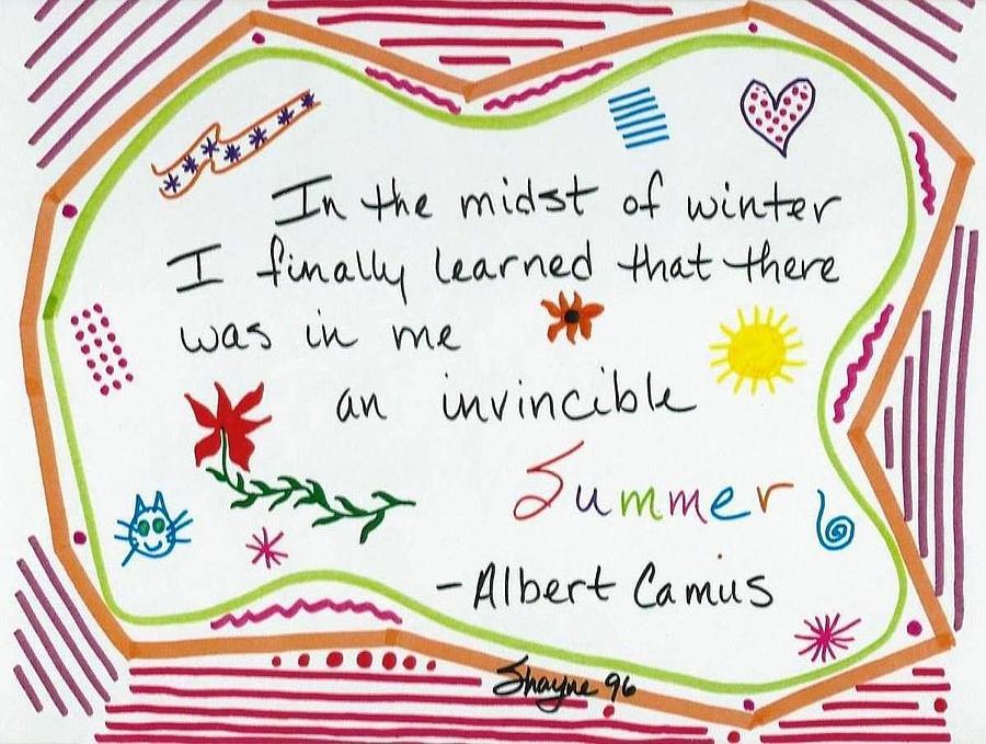 Doodles Drawing - Albert Camus Doodle Quote by Susan Schanerman