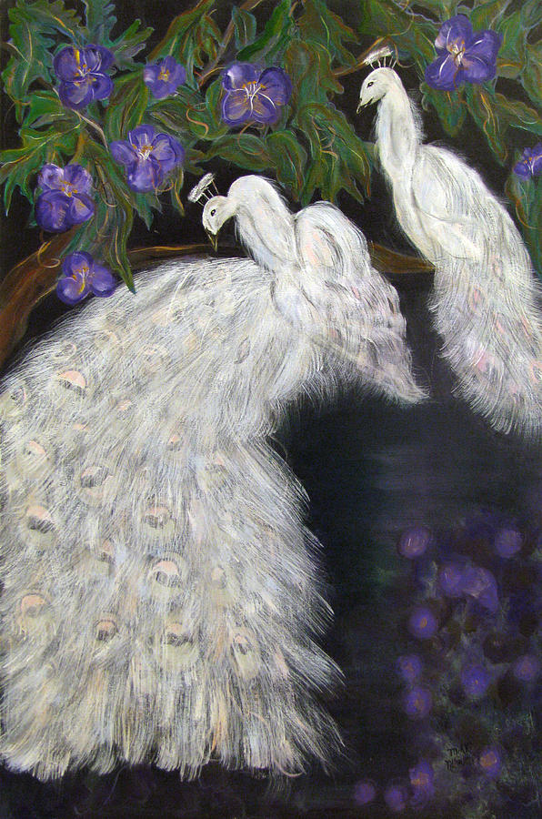 Peacocks Painting - Albino Peacocks by Mikki Alhart
