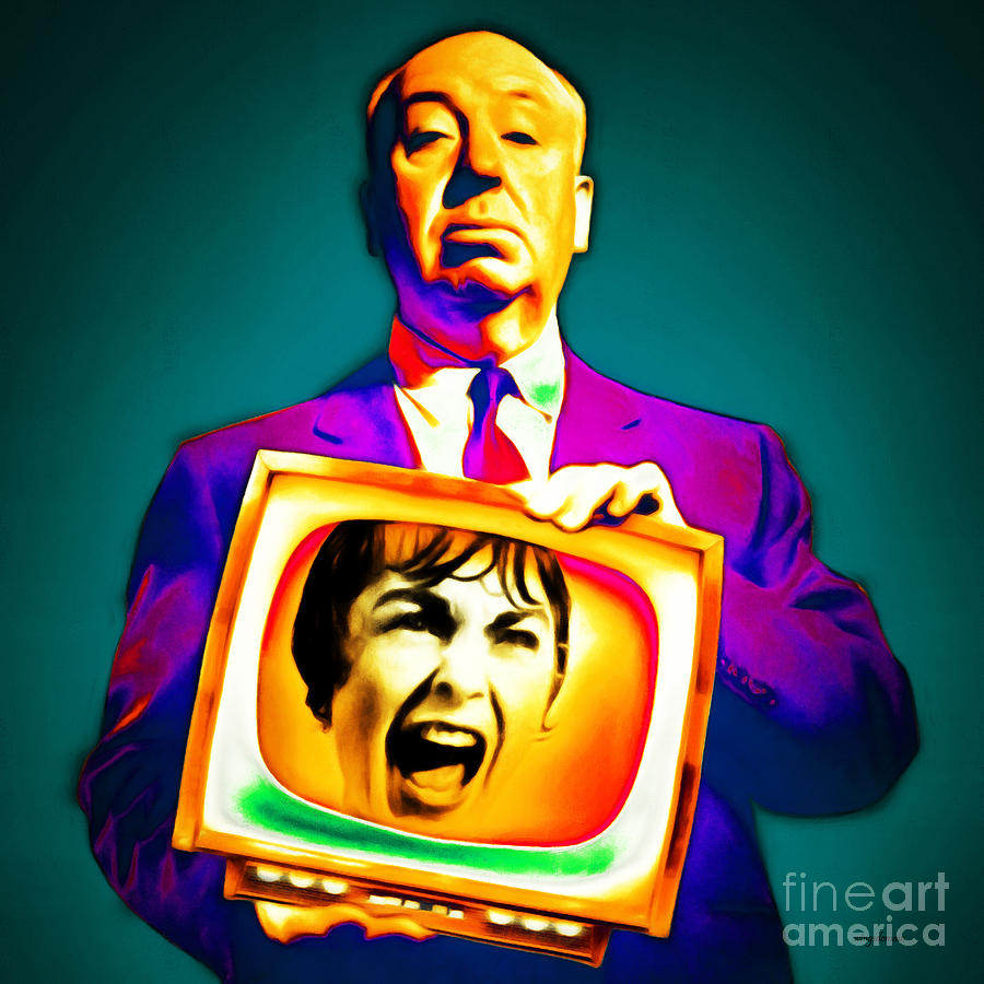 Alfred Hitchcock Psycho 20151218v3 square by Wingsdomain Art and Photography