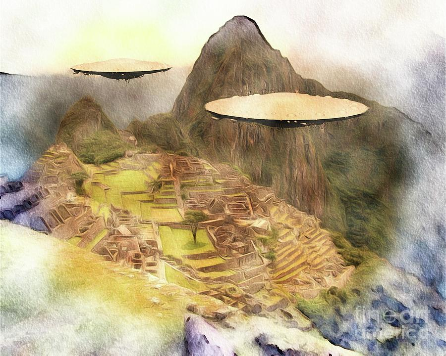 Macho Painting - Alien Ufos Over Machu Picchu by Raphael Terra