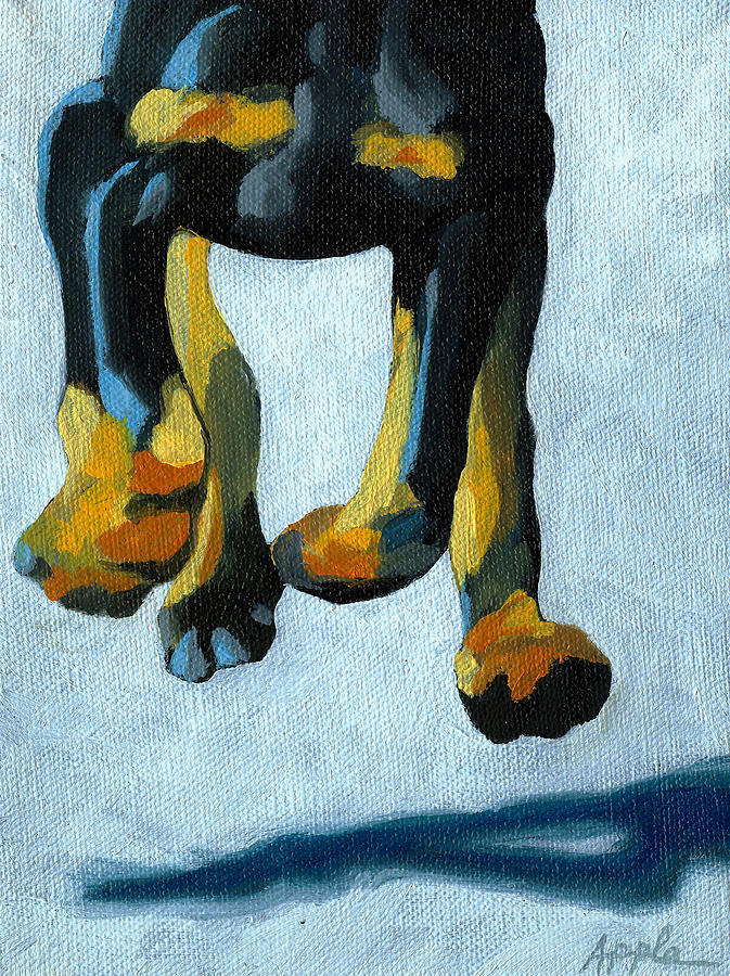 Doberman Dog Painting Painting - All Fours by Linda Apple