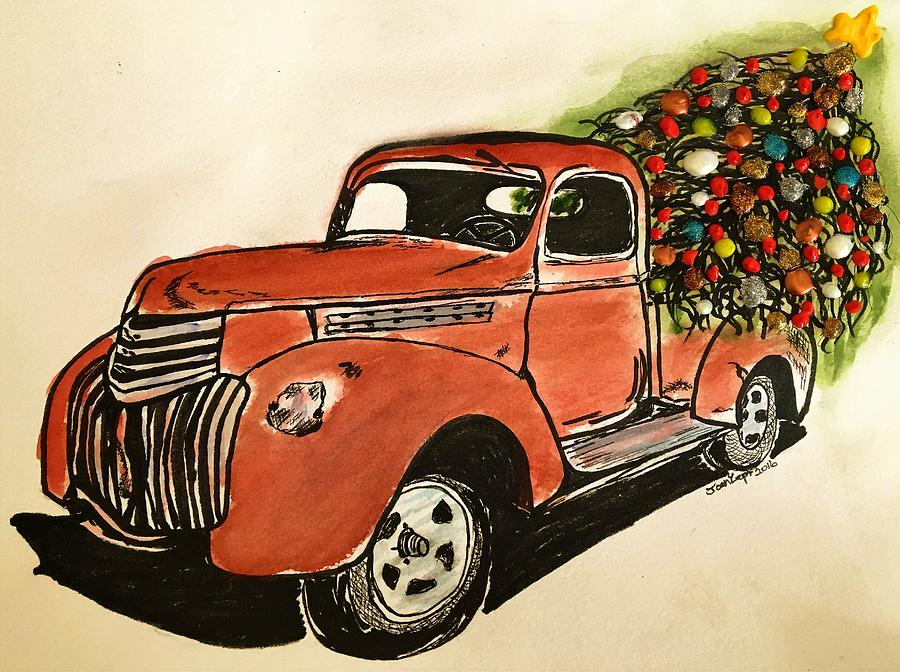 Old Truck With Christmas Tree Painting.Almost Christmas