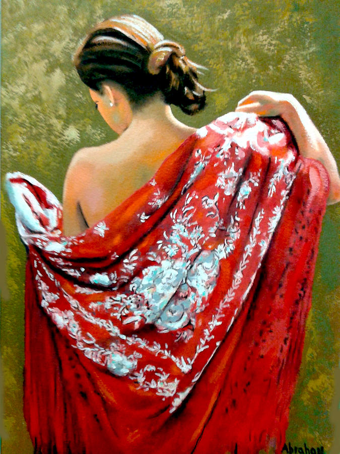 Red Painting - aly by Jose Manuel Abraham