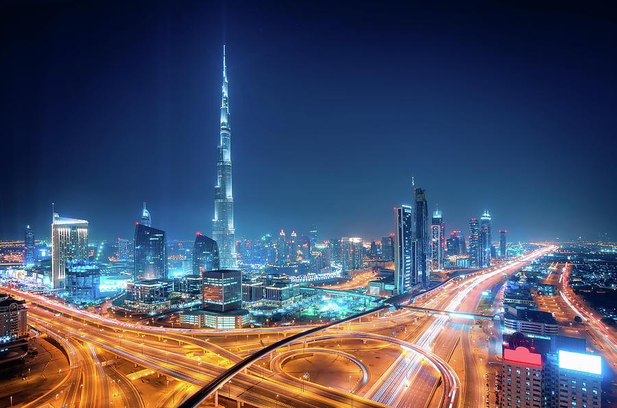 Dubai Photograph - Amazing Night Dubai Downtown Skyline, Dubai, United Arab Emirates by Marek Kijevsky