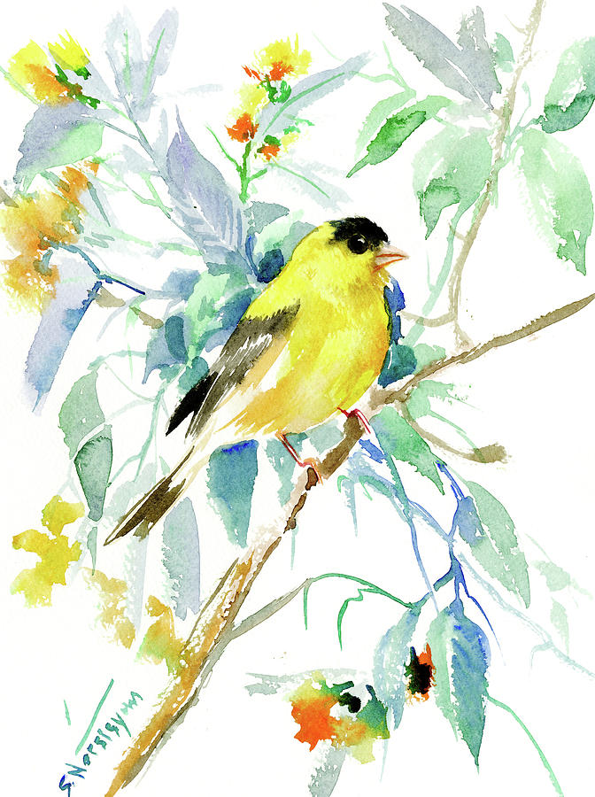 Goldfinch Painting - American Goldfinch by Suren Nersisyan