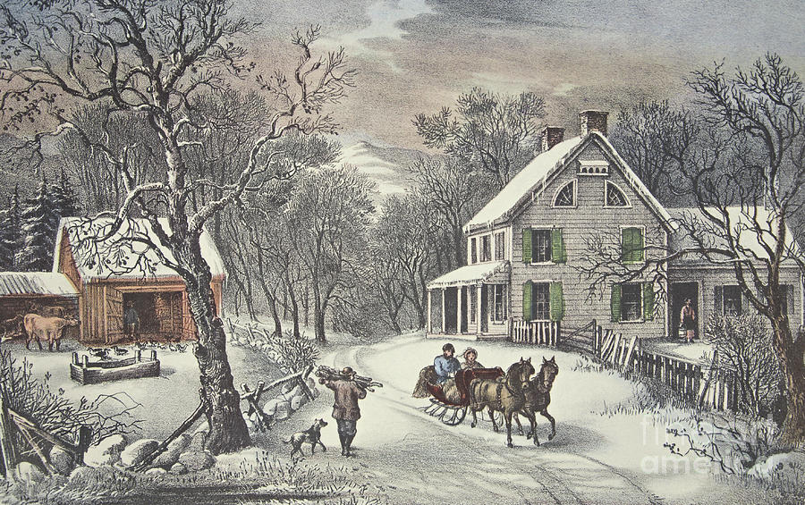 American Homestead Painting - American Homestead   Winter by Currier and Ives