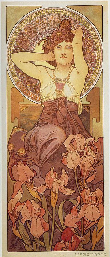 Girl Painting - Amethyst 1 by Alphonse Mucha