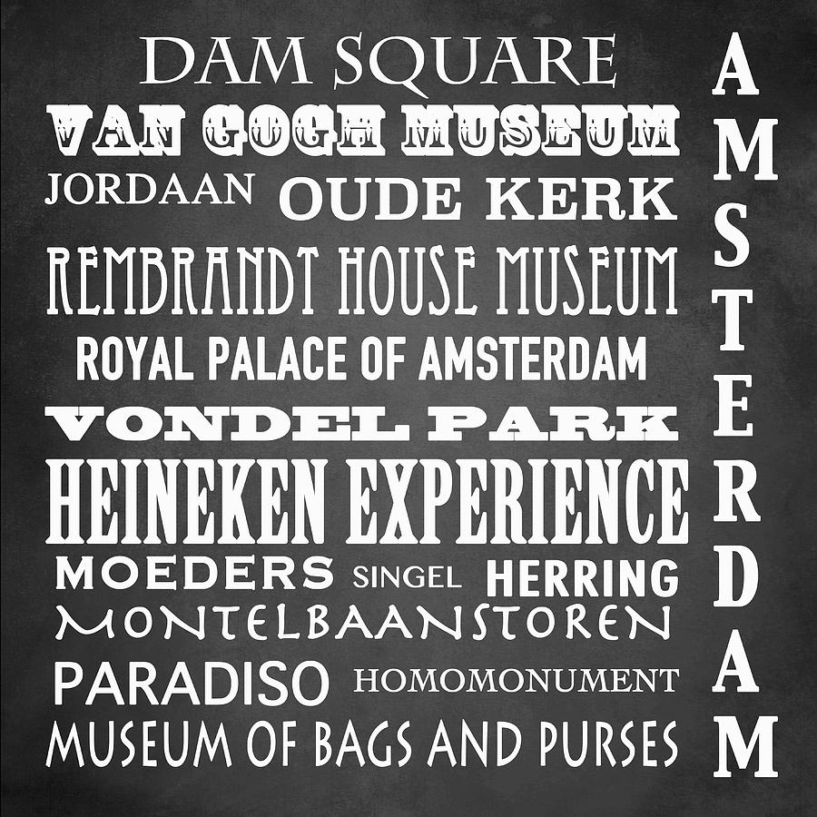 Iconic Digital Art - Amsterdam Famous Landmarks by Patricia Lintner